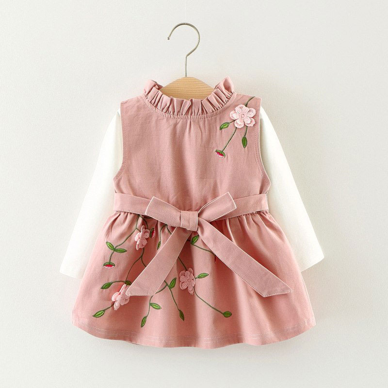 2df7d1e92c2bf Long Sleeves Two Piece Floral Ribbon Knot Dress | MyLoveHoney Baby ...