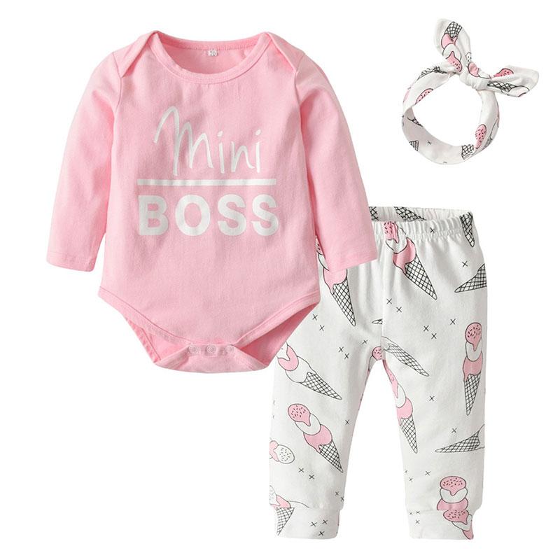 Baby Girl Mini Boss Bodysuit Ice Cream Cone Print Sweatpants