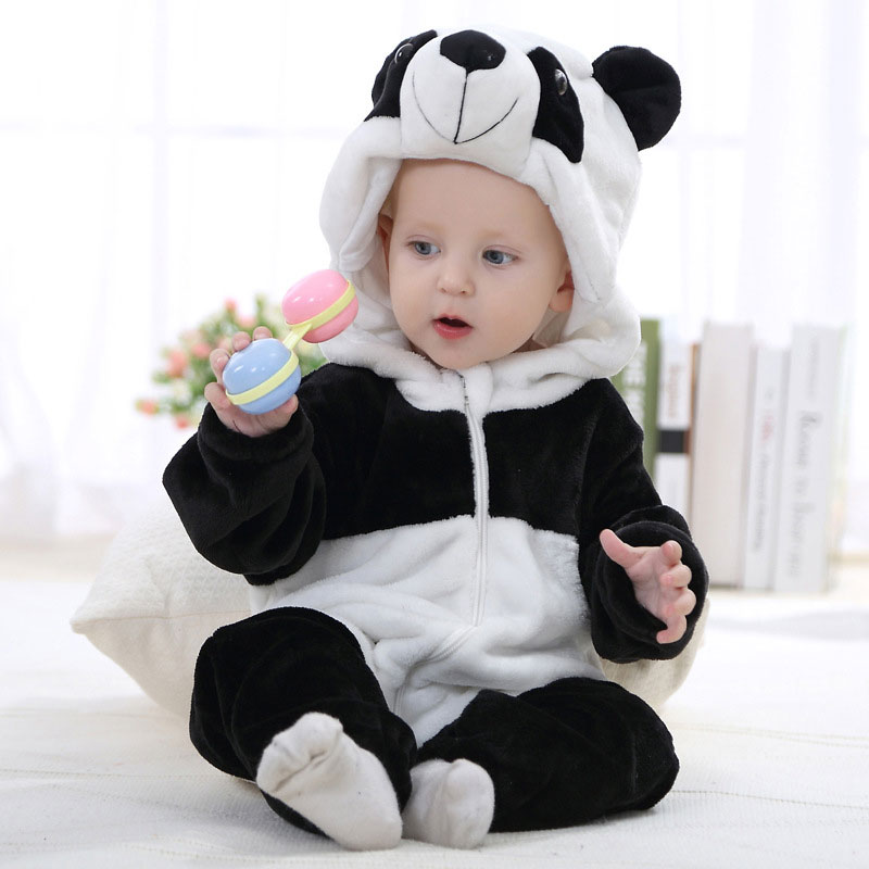 fc49cfb4a2e7 Animal Panda Fluffy Long Sleeves Zipper Hooded Jumpsuit Costume ...