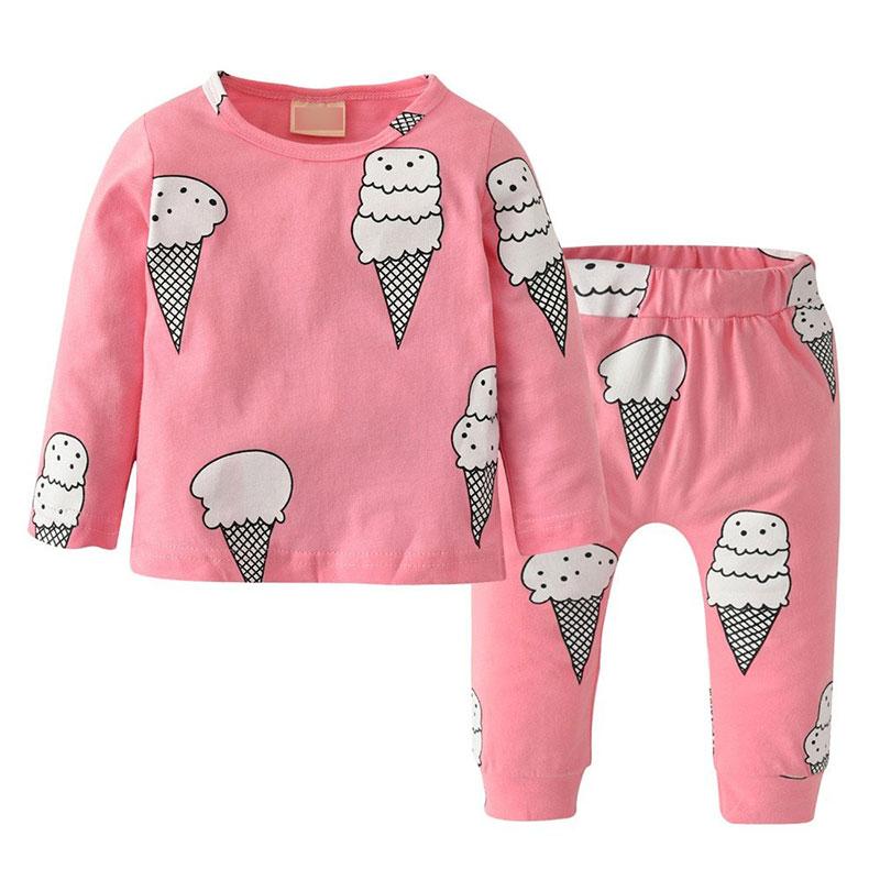 Baby Girl S Pullover Pajamas Shirt Long Sleeve Graphic Ice Cream